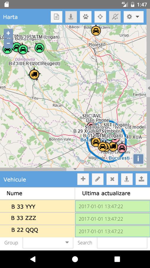 Aplicatia de urmarire pe telefon a vehiculelor